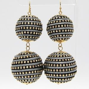 Jewelry - Gray, Black and Gold Thread Ball Drop Earrings